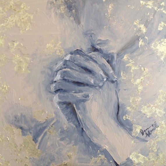 "Serenity Series praying hands Original Acrylic Gold Leaf Painting 12 by 12 square wall art  ""Casting Cares on Him"""