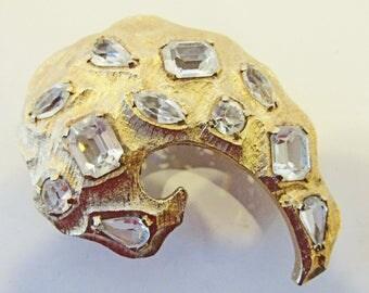 Vintage-Collectible-Kramer-Jewelry-Gold-Rhinestone-Pin-Brooch-Costume Jewelry-Avant Garde-Unique-Women-Gift-Birthday Gift-Anniversary-1960s