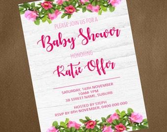 DIGITAL FILE- Floral themed Baby shower invitation