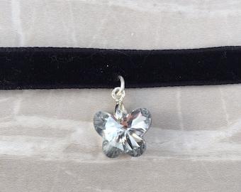 Crystal Butterfly Black Velvet Choker, Goth Choker, Butterfly Choker, Choker Necklace, Crystal butterfly Choker, velvet choker