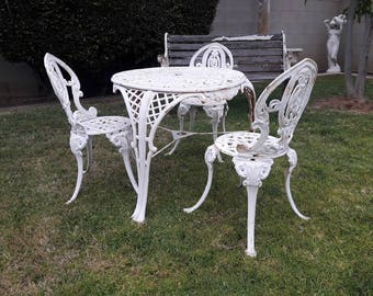 Victorian Cast Iron Figural Table Chairs Set (4 Pieces)