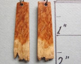 Raw Edge, Corrugata Burl Long Dangle Earrings, Exotic Wood Handcrafted ExoticWoodJewelryAnd Hypoallergenic wires