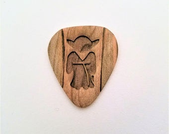 Yoda Guitar Pick, Personalized Custom Engraved Plectrum, Wood Laser Burned Guitar Pick, Star Wars Guitar Pick