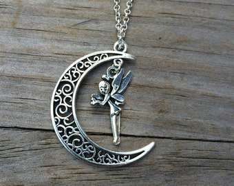 Fairy Moon charm necklace, Necklace, Moon necklace, Boho Necklace, Indie Necklace, Fairy Necklace