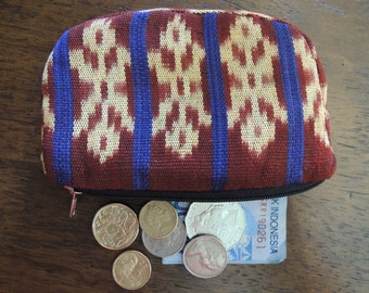 Purse Change Coin Pouch Hand Made Cotton Womens Wallet Ikat Tenggara Designs