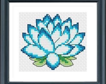 Lotus Cross Stitch Pattern, Needle Pattern, Instantly Download