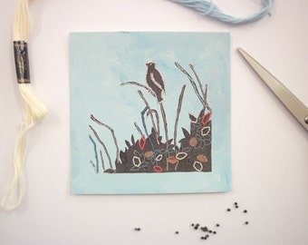 small bird print - little bird wall art - silhouette picture - square blue painting - small painting - wall decor - art print