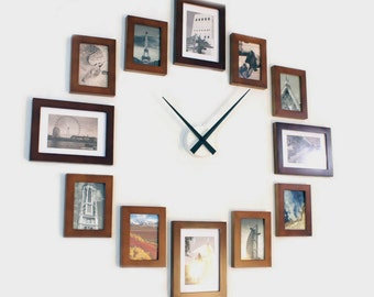 Photo Picture Frame Wall Clock -  Brown 12