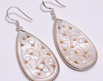925 Sterling Silver Earrings, Mother Of Pearl Earrings, gemstone Earrings, Hand Carved Jewelry, Sterling Silver Earrings, Drop Earrings