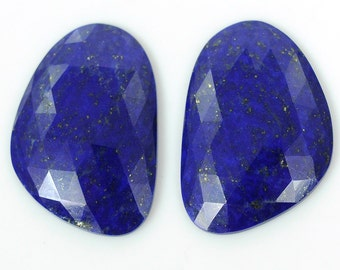 Lapis Lazuli Rose Cut 36.50cts 100% AAA Natural Gemstone Slice Uneven shape Rose Cut Slice 20*29mm Pair