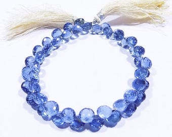 30%OFF 81 Carat Tanzanite Color Quartz Faceted Onion Shape Beads 8 Inch Strand 6x6 mm Approx-Side Drill-Free Shipping