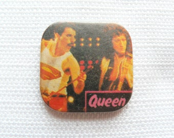 Vintage Early 80s Queen - Freddie Mercury and Brian May Pin / Button / Badge