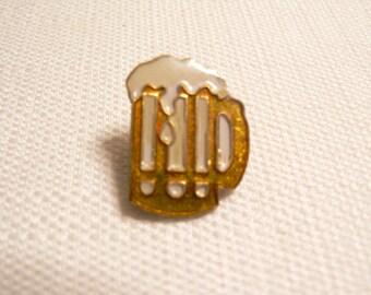 Vintage 1980s Beer Mug Enamel Pin / Button / Badge