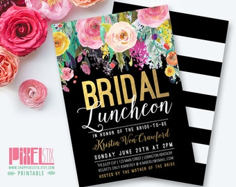Floral Bridal Luncheon Invitation, Gold Foil Invitation, Floral Bridesmaids Luncheon, Bridal Tea, Brunch and Bubbly, Invite, Black and White