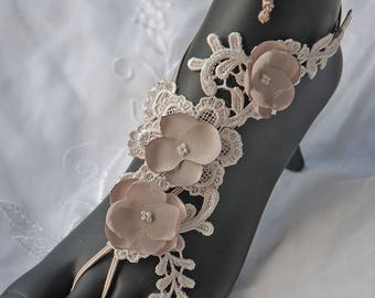 Taupe lace-up barefoot sandals;wedding barefoot sandals;lace barefoot sandals