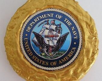NEW!!! - Gold Rim U.S. Navy Emblem Magnet - Multi-Colored - Refrigerator Magnet