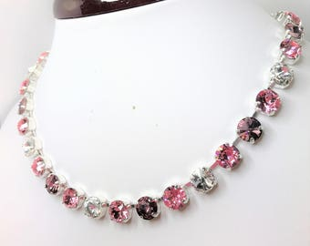 Pink Ombre Swarovski Crystal Necklace 8mm Chaton Jewelry Antique Pink Sparkly Necklace Light Pink Jewelry Unique Gift For Her Pink Silver