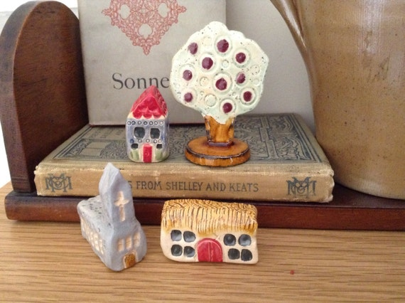 Set of 3 tiny houses and tree, small house ornaments, ceramic houses, ceramic barn, ceramic church, ceramic house.