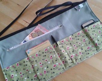 Craft apron, half apron, vendor apron, waitress apron, utlility apron, teacher apron, money apron, server apron, sage green, flower fabric.