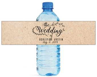 The Wedding Water Bottle Labels Great for Weddings, Engagement Bridal Shower Party Easty to use self stick labels