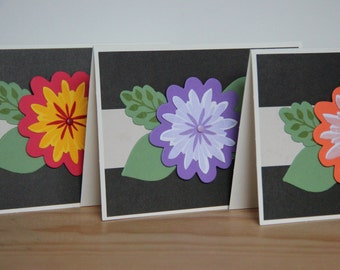 3 Blank Greeting Cards.  Handmade Cards. Flower Cards.  3-D Flower Cards. Anniversary Cards. Birthday Cards. Any Occasion Cards
