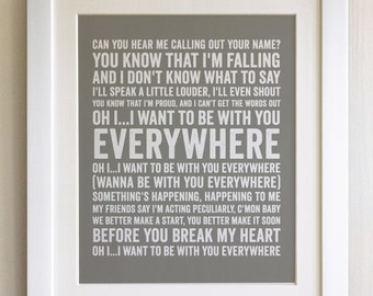 FRAMED Lyrics Print - Fleetwood Mac, Everywhere - 20 Colours options, Black/White Frame, Wedding, Anniversary, Valentines, Fab Picture Gift
