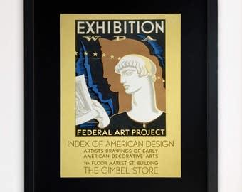 "LARGE 20""x16"" FRAMED Advertising Print, Black or White Frame/Mount, Federal Art Project"