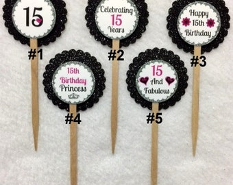 Set Of 12 Personalized 15th Birthday Party Cupcake Toppers Of Your Choice