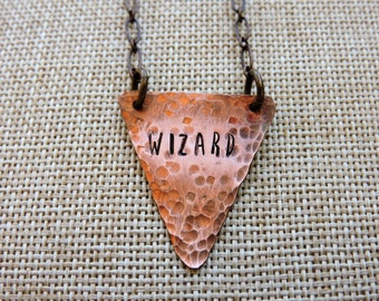 Wizard, Hand Stamped Scrap Copper w/ Patina
