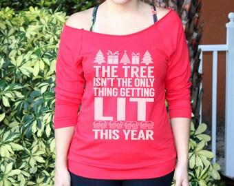 "LIT Design. Womens Funny Christmas Sweater. ""LIT"" Tree christmas off shoulder shirt."