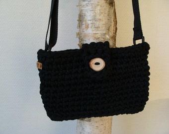 Crochet black zpagetti bag
