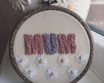 """Floral Mum embroidery hoop 4"""""""