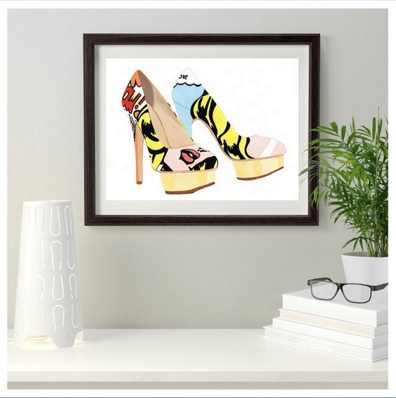 Charlotte Olympia Pop Art Fashion Shoe Original Painting & Prints 10 x 8 inch  6 x 4 inches Postcard size 7 x 5  ACE0, Gift idea