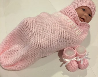 Knitted blossom pink baby cuddle blanket, beanie and booties. Monogramming free.