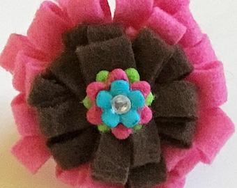 Pink & Brown Felt  Flower for Girl Dog or Cat Collar