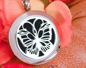 Essential Oil Diffuser Necklace - Butterfly (25MM) Silver - A8