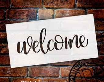 Welcome Sign Stencil by StudioR12 - Reusable, Paint Front Porch Sign, DIY Decor, New Home Gift, Barn Wood, Word Art - STCL1493 - Select Size
