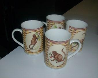 4 Vintage American Atelier 5029 monkey coffee mugs