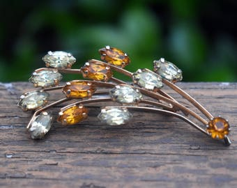 Vintage Green and Yellow Gemstone Brooch