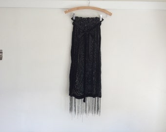 HANDMADE Sheer Fringes Skirt XS