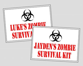 Personalized Zombie Survival Kit Favor Tags. Up to 12 names for Zombie Kit Party Favor. Digital, Printable Zombie Party Favors, labels