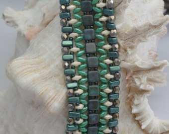 PASHA'S BRACELET Pdf beading tutorial, Superduo pattern, bracelet pattern, jane bari beads, pdf tutorial download, instant download