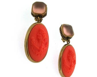 Extasia Cameo Earrings Coral German Glass Bronze Pink Swarovski Crystal Clip On