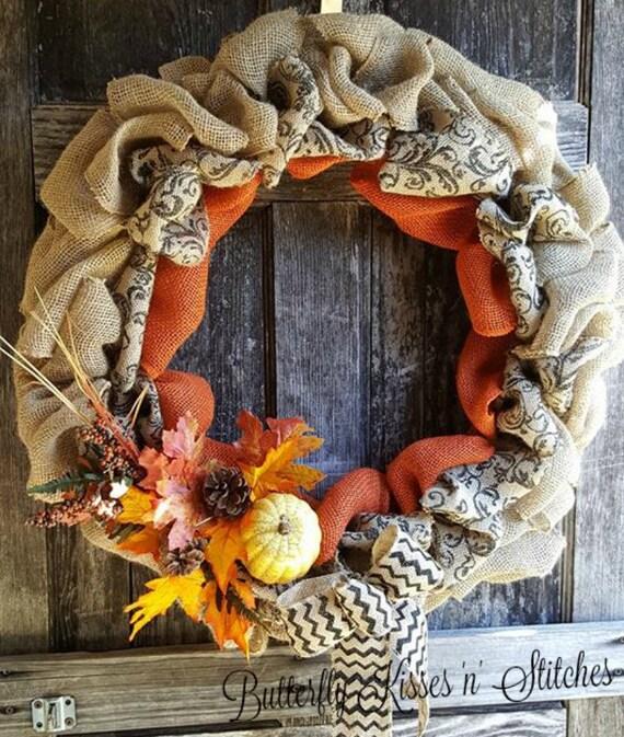 Fall Burlap Wreath/Front Door Wreath/Autumn Wreath/Wreath For Door/ Burlap Wreath/ Fall Wreath/Thanksgiving Decor/Fall Decor/Wreath