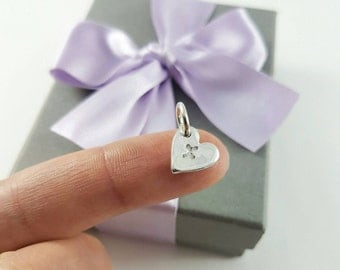 Initial add-on - Tiny initial heart/ add-on/ pure silver/ personalised with initial of your choice