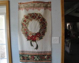 Christmas Wreath Panel-R. Kaufman-Holiday Flourish 8 Col.-Red, Green & Ivory