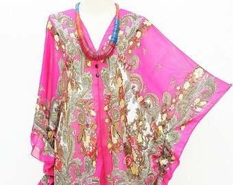 Kaftan Kimono Beach Cover up Bikini Magenta Blouse Butterfly sleeves Tunic Gift Top Maternity Swimwear Plus size see through colorful Summer