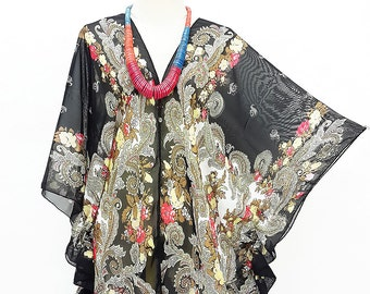 Kaftan Kimono Beach Cover up Bikini Black Blouse Butterfly sleeves Tunic Gift Top Maternity Swimwear Plus size see through colorful Summer