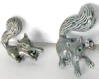 Vintage Gerry Gray Squirrel Pin Set, Gray Squirrel Pin Set, Mom and Baby Squirrel Pin Set, Gerrys Squirrel Brooch, Gray Squirrel Brooch, Pin