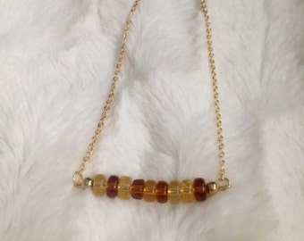 Amber Bead Necklace on Gold Chain